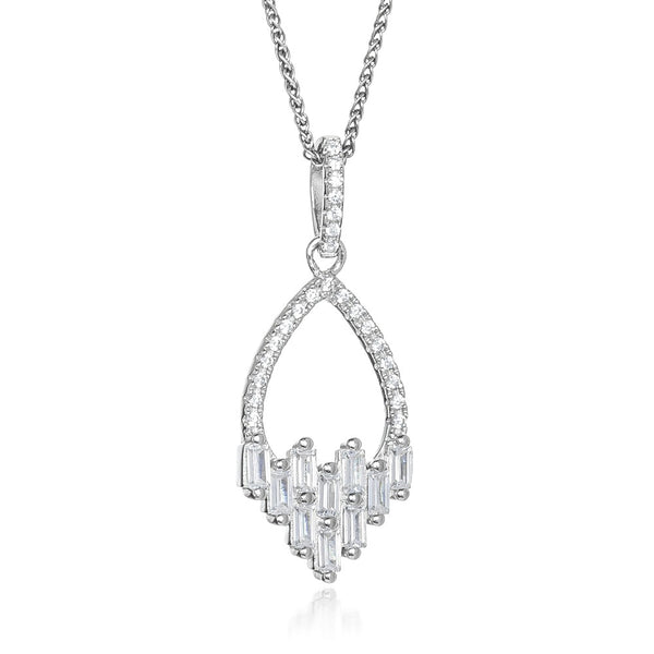 The Real Effect Silver CZ Deco Style Necklace RE42064