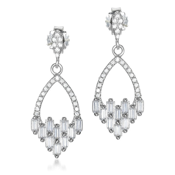 The Real Effect Silver CZ Deco Style Earrings RE42074