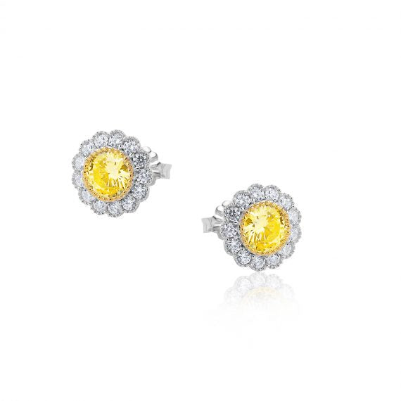 The Real Effect Yellow CZ Earrings RE44704