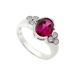 Silver CZ Vintage Style Oval Rubover Red Ring