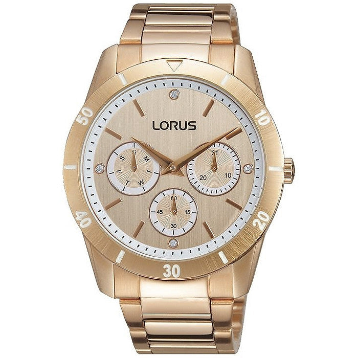 Lorus Ladies Just Sparkle Oversize Rose Tone Bracelet Watch RP696BX9