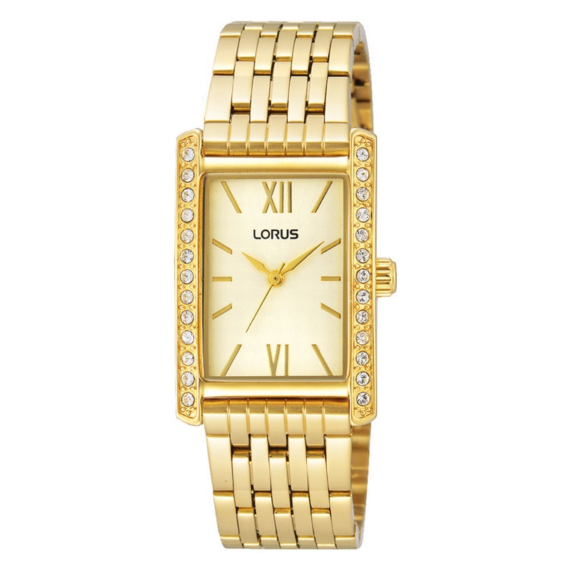 Lorus Ladies Rectangular Gold Tone Stone Set Bracelet Watch RRS38VX9