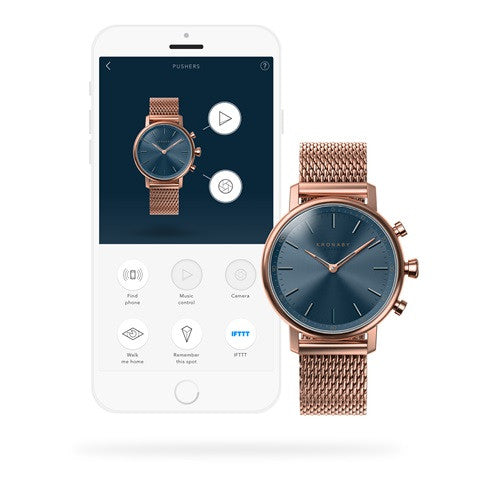 Kronaby Carat 38mm Rose Mesh Smart Hybrid Watch S0668/1 connected