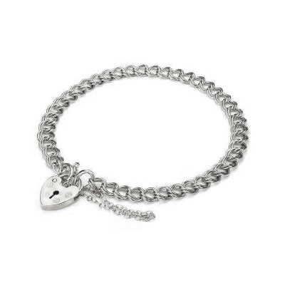 Silver Double Curb Link Charm Bracelet with Padlock