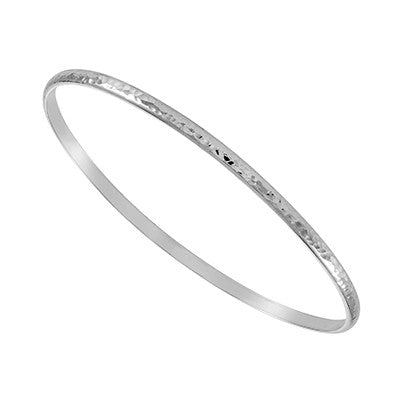 Sterling Silver 3mm Hammered D Shaped Stacker Bangle