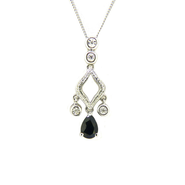 9ct White Gold Sapphire & Diamond Drop Necklace