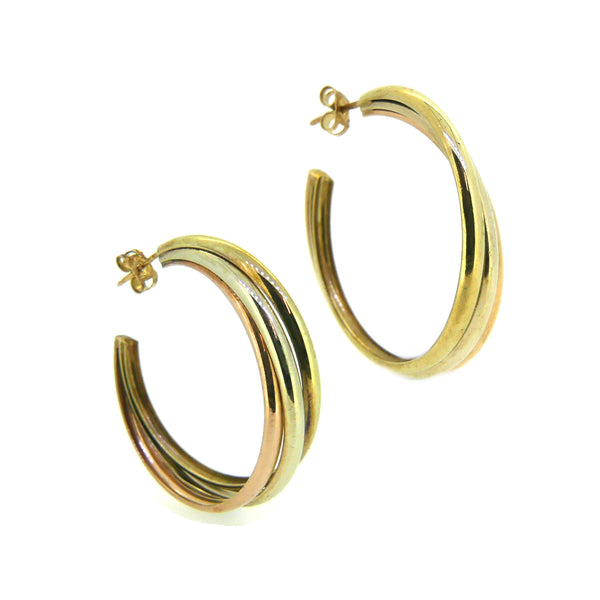 Pre Owned 3 Colour Russian Hoop Earrings 9ct Gold
