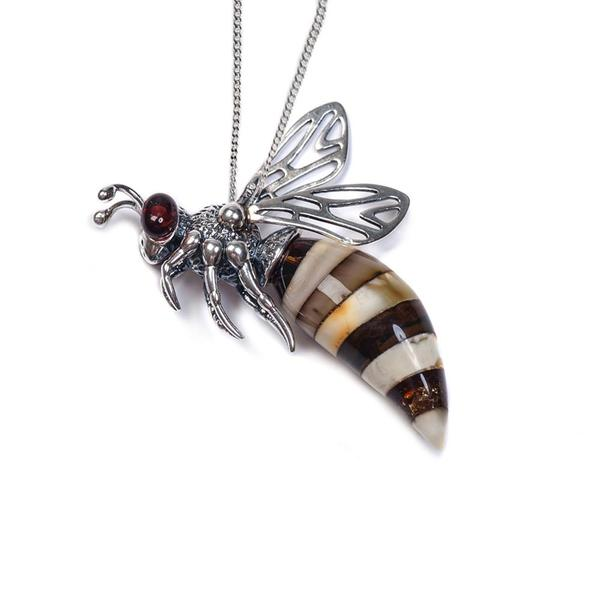 Henryka Small Hornet Necklace in Silver and Amber