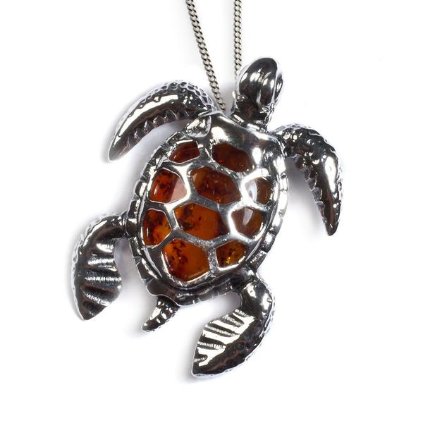 Henryka Sea Turtle Necklace in Silver and Amber
