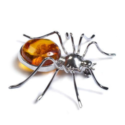 Henryka Handmade Large Spider Brooch in Silver and Amber