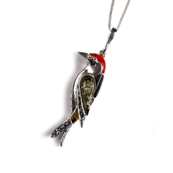 Henryka Small Woodpecker Bird Necklace in Silver, Coral and Amber PH801/S-AAG