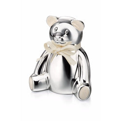 Silver Plated Teddy Money Box Y413