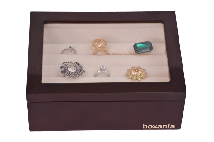 Boxania Wooden Rings Box High Glossy British Walnut Finish