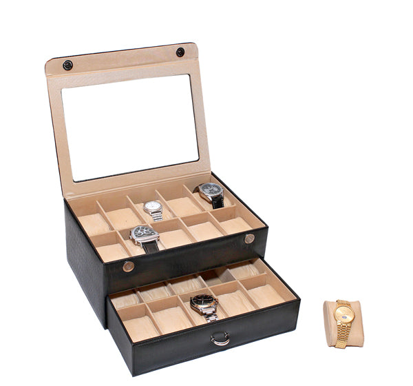 PU Synthetic Leather Watchbox for 20 Watches