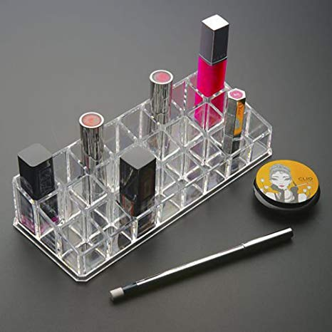 Premium 24 Compartment Acrylic Makeup Organizer, Transparent