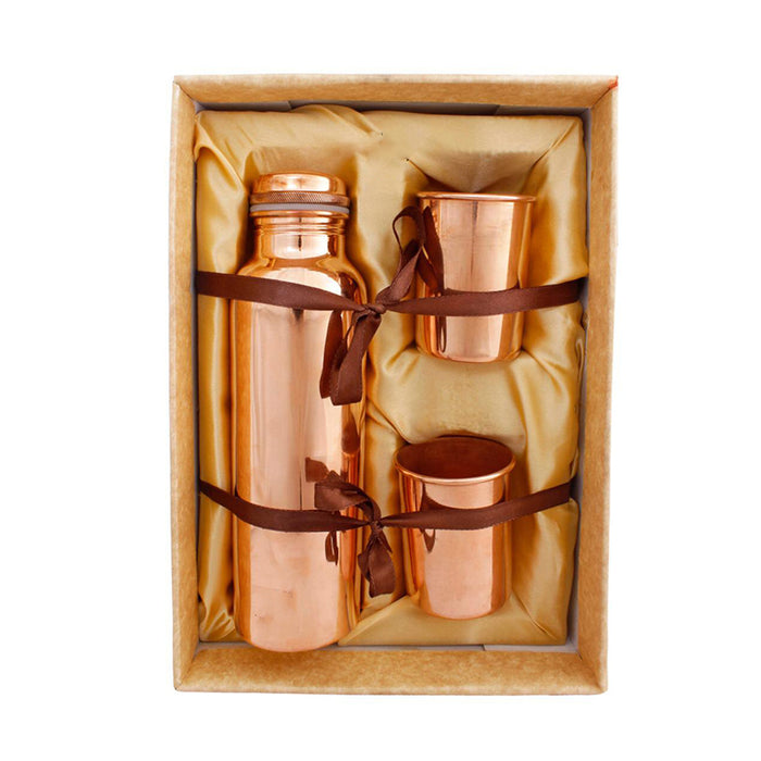Boxania Copper Bottle with Glasses Gift Set