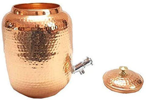 Copper Hammered Water Pot with Tap 4500 ML