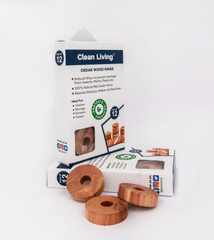 Clean Living® Natural Cedar Wood Rings Moth Repellent |Storage Accessories Cedar Rings wardrobes & Drawers Freshener [24 Pack]
