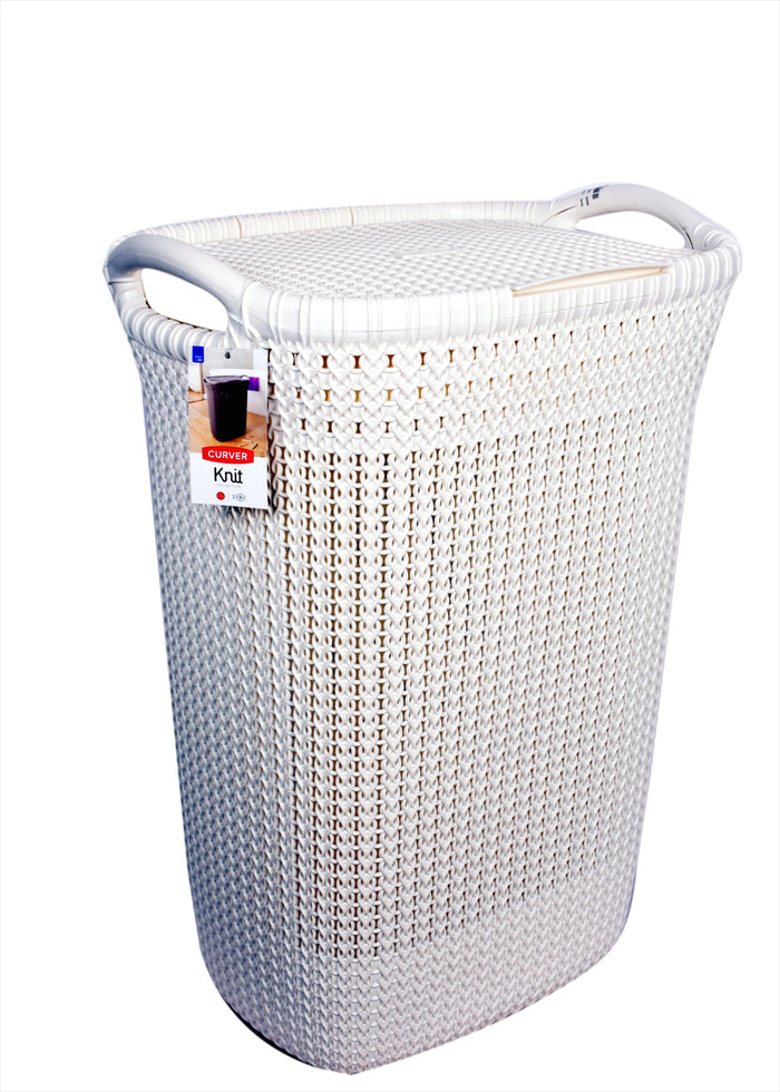 Curver Knit Laundry Hamper 57 Ltrs  (03676) - White