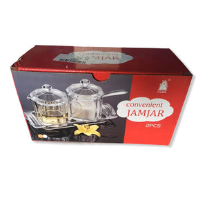 Premium Acrylic Jamjar - 2 pcs set with tray