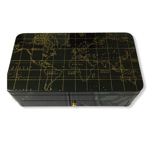 Luxury Pocket Changer/Organizer with World Map Print on Top (with Drawer) Black Colour