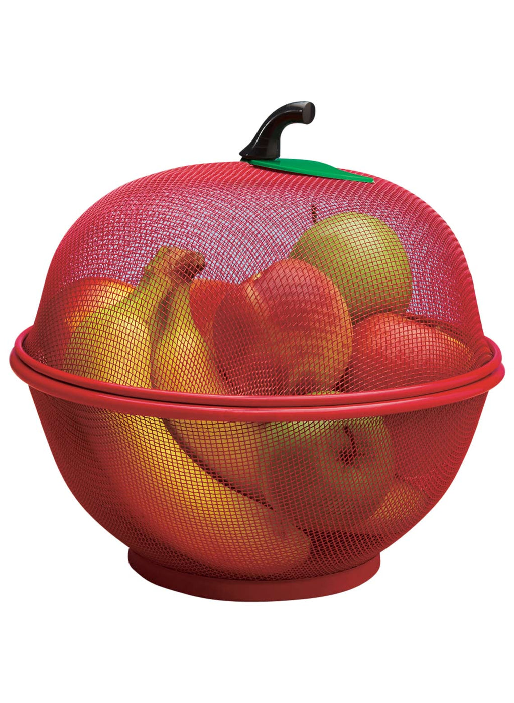 Boxania Apple Shape Net Basket for Fruits Vegetables Kitchen Basket Insect Proof Drain Wash (27 CM) Assorted Color