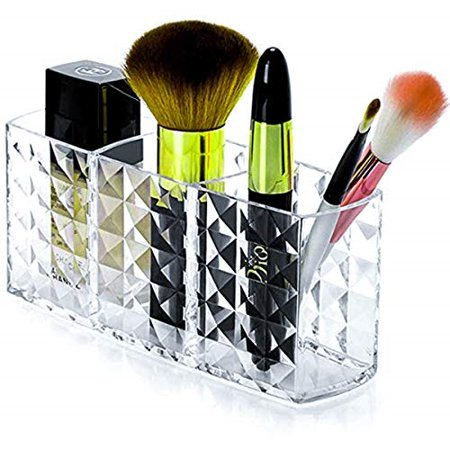 Makeup Brush Holder Organizer | 3 Slot Acrylic Cosmetic Brushes Storage | Eyeliners Eyebrow Pencil Clear Diamond Shaped Display Case