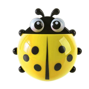 Ladybug Shape and Wall Mounting Suction Cups Toothpaste and Toothbrush Holder - 1 pc, Mix colours