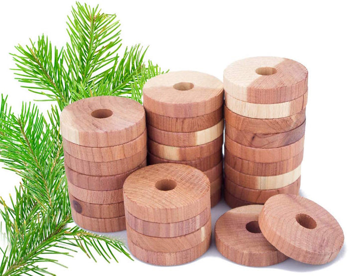 Clean Living™ Natural Cedar Wood Rings Repellent | Aromatic Cedar Blocks Moth Balls Clothes Protection [Pack of 12]