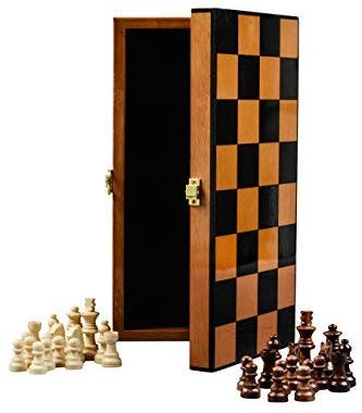 Boxania Wooden Non Magnetic Foldable High Gloss Finish Handcrafted Pieces Chess Board Game Set  (Rosewood)