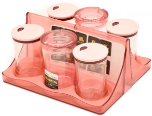 Clarity Square Cruet Set 6pcs 200ml Mix colours