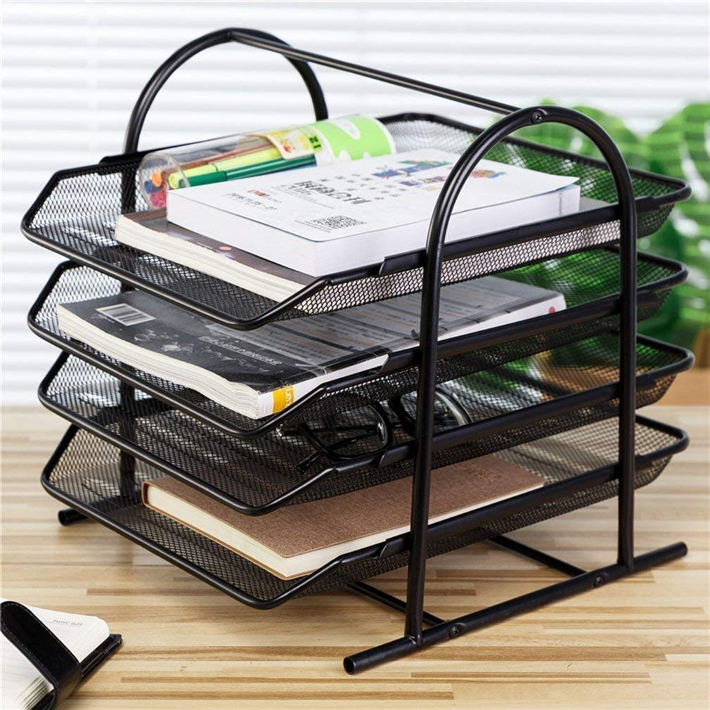 4 Tier Metal Mesh Tray A4 Documents/Files/Papers