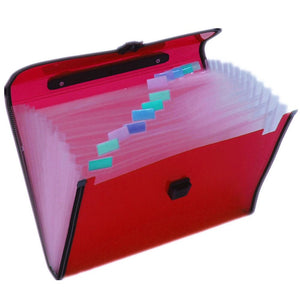 A4 Expanding File Folder ,13-Pockets with Handle, Buckle Closure and Subject Labels. (Mix Colours)