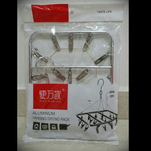 Durable Square Clothes Hanger with 20 Clips
