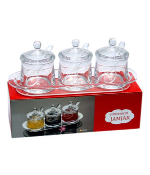 Premium Quality Clear Acrylic Convenient Jamjar - 3  (Clear)