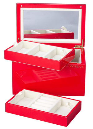 Boxania Glossy Finish Premium Wooden Jewellery Box ( Red )