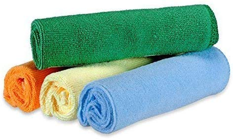 Microfiber Cloth - 4 pcs Pack - 30x30 cms - 340 GSM Multi-Color - Thick Lint & Streak-Free Multipurpose Cloths - Car Cleaning, Kitchen, Bike, Laptop, LED TV, Mirrors and Furniture