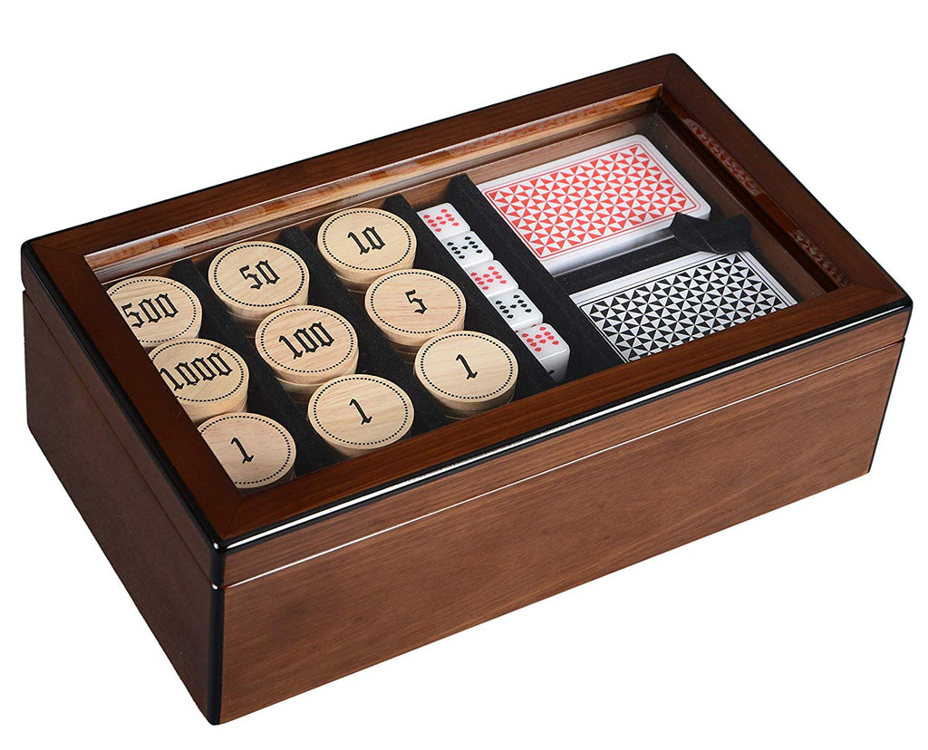 Boxania Premium Poker Set with Wooden Chips and Playing Cards in High Gloss Finish Box of British Walnut Color