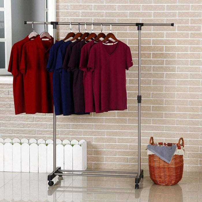 Boxania Stainless Steel Single Pole Telescopic Movable Clothes Rack (Silver)