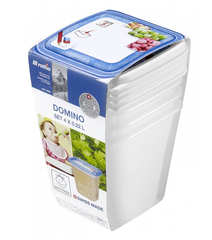 Rotho  Domino Freezer Box 0.22 L - Set of 4