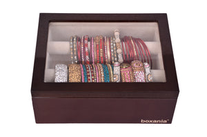 Boxania Wooden Bangles/Jewelry Organiser/Box in Glossy British Walnut Finish