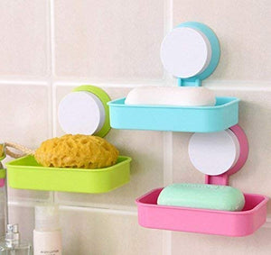 Single Layer Soap Box Suction Cup Bathroom Hanging Tray Holder (Standard, Assorted Colour) pack of 1