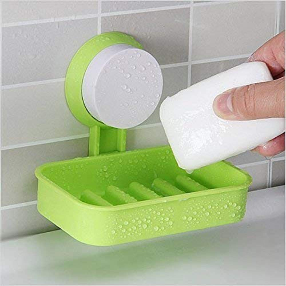 Single Layer Soap Box Suction Cup Bathroom Hanging Tray Holder (Standard, Assorted Colour) pack of 2