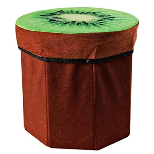 Creative 3D Fruit Design Multipurpose Foldable Velvet Storage Seat Box Cum Stool