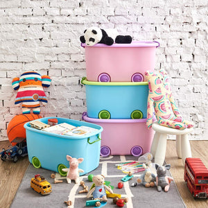 Stackable Toy Storage Box with Wheels (Mix Colours)