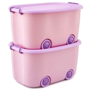 Stackable Toy Storage Box with Wheels (Purple)