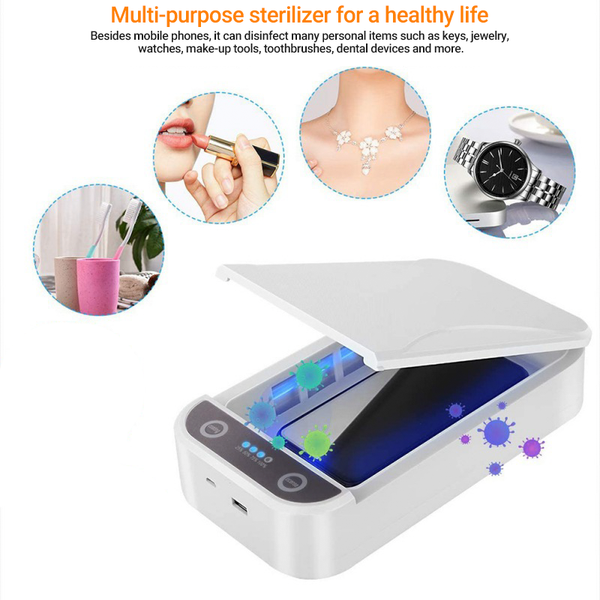 Boxania® Portable Disinfecting UV Sterilisation Mobile Phone Masks etc Sterilizer  Germicidal  Box - White