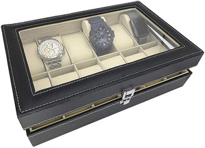 Boxania Leatherette Watch Storage Box Display Case Organizer with Finish and Glass Window with 12 Slots