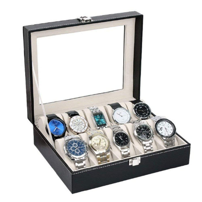 PU Leather 10 Slots Wrist Watch Display Box
