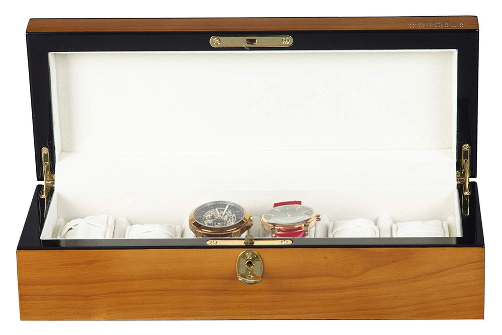 Boxania Premium Watch Box in Exclusive Glossy Finish Walnut Color with Black Trim Along Edges (6 watches)